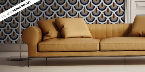 Couch, Furniture, Interior design, Wall, Sofa bed, Living room, Room, Wallpaper, studio couch, Floor,