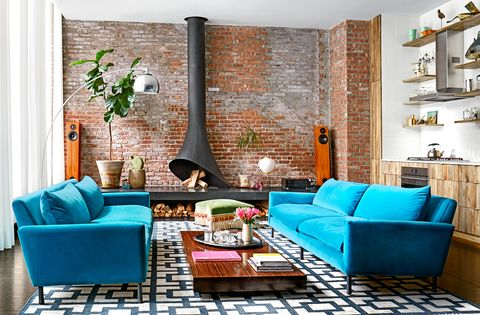 Living room, Room, Furniture, Blue, Interior design, Turquoise, Green, Property, Wall, Couch,
