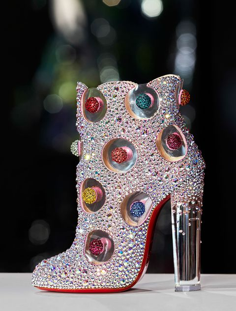 jewel-encrusted shoe with clear heel