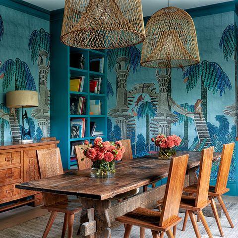 Blue, Room, Turquoise, Interior design, Furniture, Table, Dining room, Aqua, Lighting, Azure,
