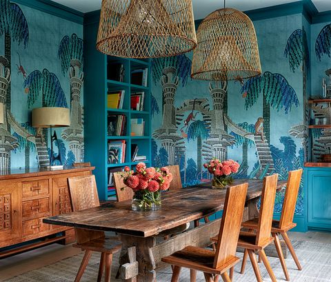 blue, room, turquoise, interior design, furniture, table, dining room, aqua, lighting, azure,