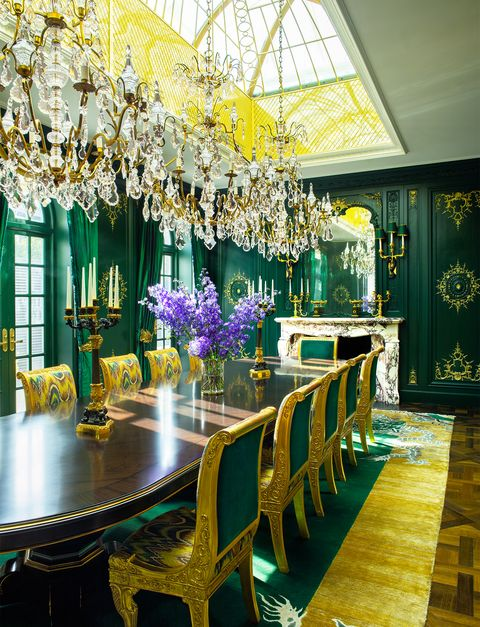 Decoration, Room, Yellow, Dining room, Interior design, Purple, Ceiling, Table, Furniture, Building,