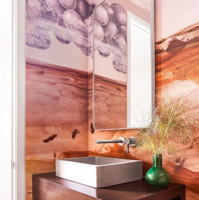 calico wallpaper's moors in a dallas powder room by  jean liu design