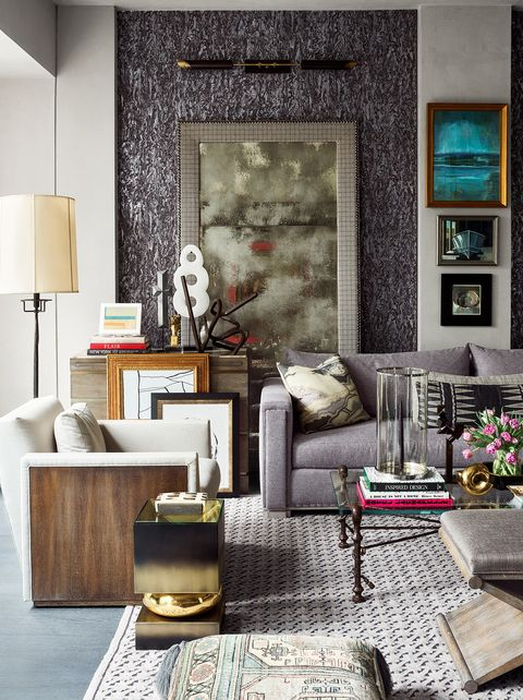 Living room in cool tones and lots of artwork