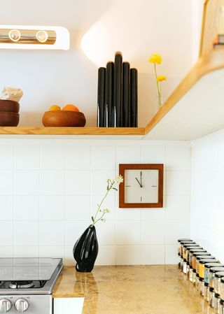 kitchen counter with black vase