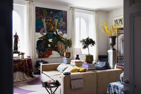 living room with large artwork