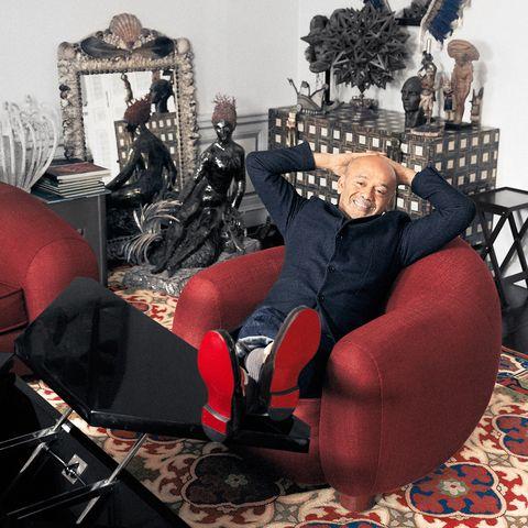 Christian Louboutin in his Paris apartment