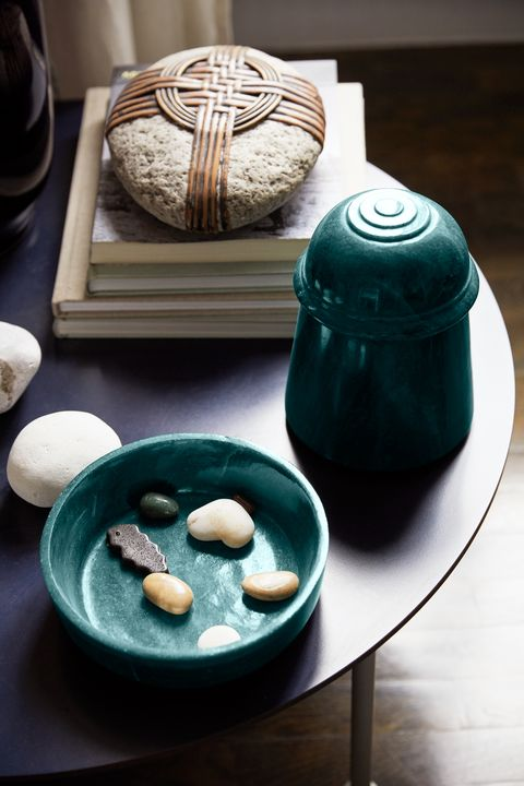 up close detail of small table with objets