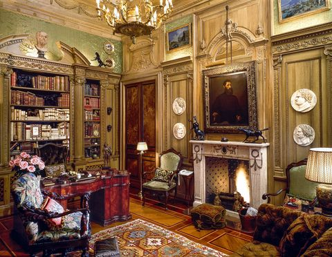 library with fireplace and furniture