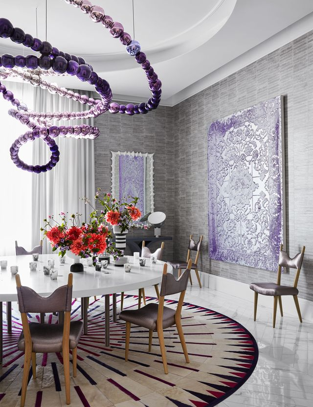 dining room with purple accents