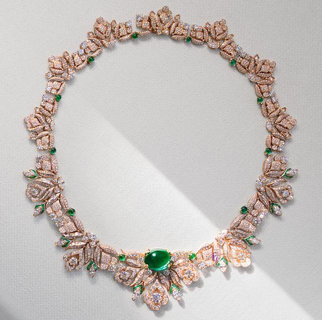 bulgari emerald, diamond, and pink gold barocko high jewelry necklace