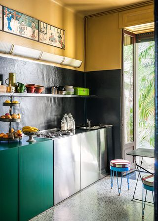 kitchen with doors leading outside