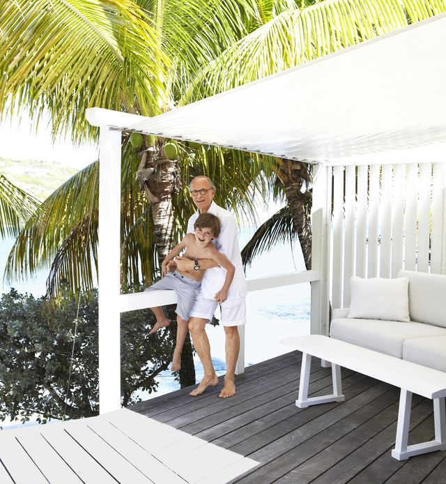 christian liaigre with his son, léonard, at his family's home on st barts in the caribbean
