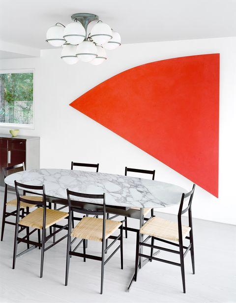 Furniture, Room, Table, Interior design, Dining room, Wall, Chair, Kitchen & dining room table, Material property, Building,