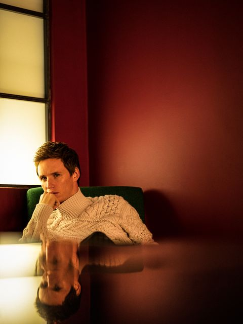 the actor eddie redmayne, star of the film the chicago 7 trial on netflix, poses for the magazine esquire spain with a dior man jersey and prada trousers
