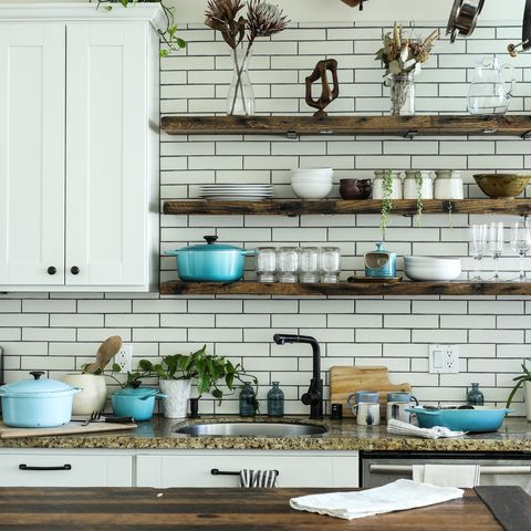 Countertop, Kitchen, Room, Turquoise, Green, Furniture, Tile, Wall, Interior design, Home,