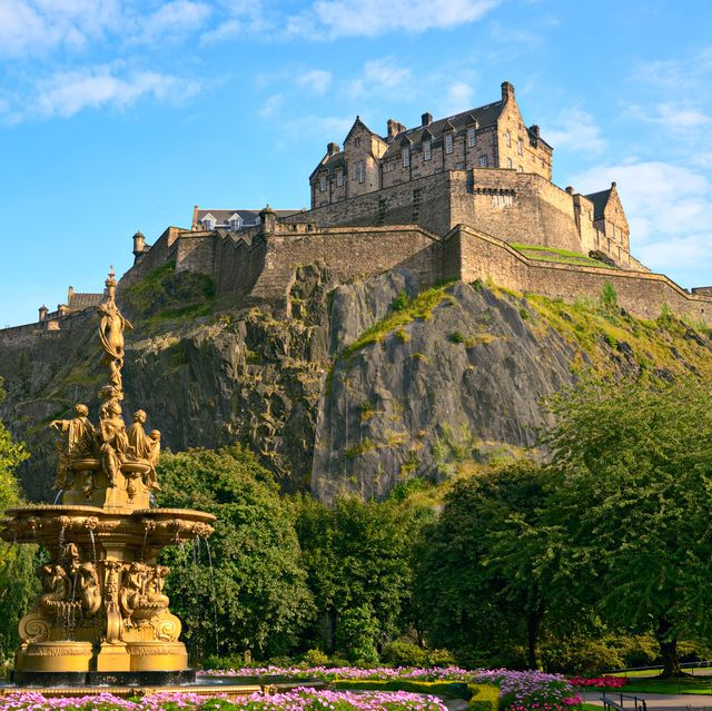 Edinburgh Castle, Scotland, from Princes Street Gardens, with Ross Fountain