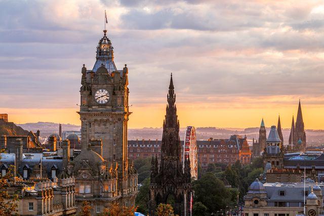 edinburgh skyline, balmoral clocktower, scotland