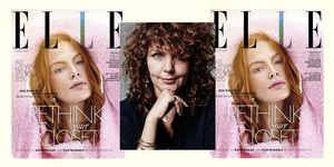Portret van Edine Russel naast de cover van ELLE Maart