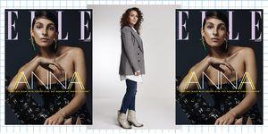 ELLE's decembernummer 2019 en een foto van hoofdredacteur Edine Russel.
