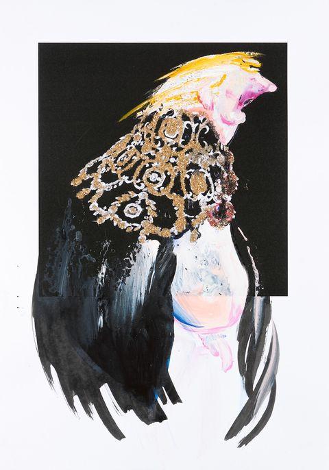 Beak, Bird, Art, Paint, Watercolor paint, Feather, Painting, Wing, Art paint, Illustration,