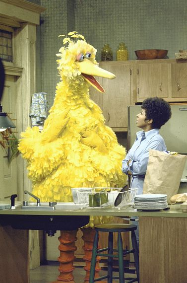 Big bird standing in a kitchen talking to an African-American woman