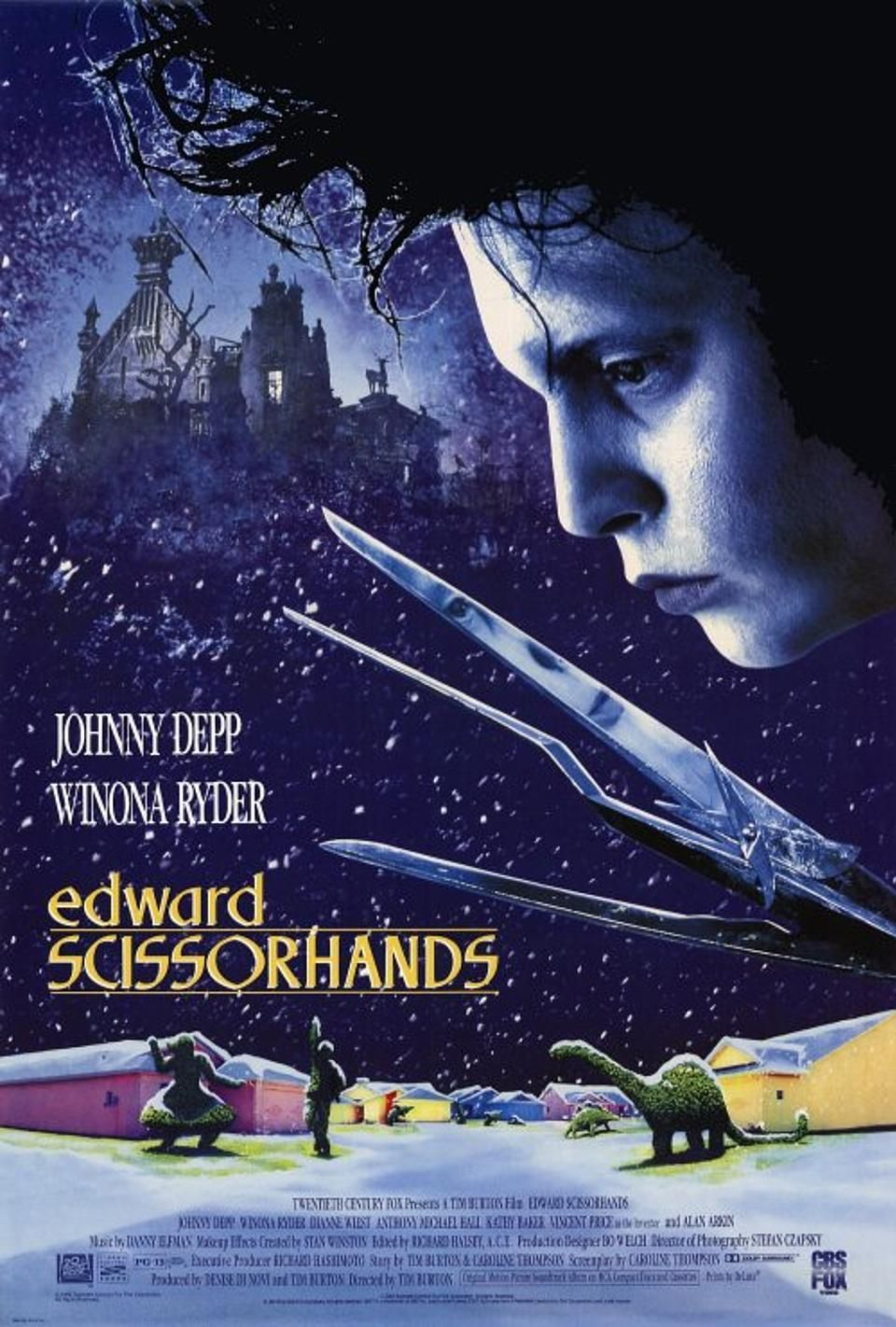 Edward Scissorhands (1990) If you ever want to explain to someone from Gen Z why Tim Burton and Johnny Depp have worked together approximately a zillion times, all you have to do is show them Edward Scissorhands , which was the perfect marriage of the frequent collaborators' individual brands of creepy quirkiness.