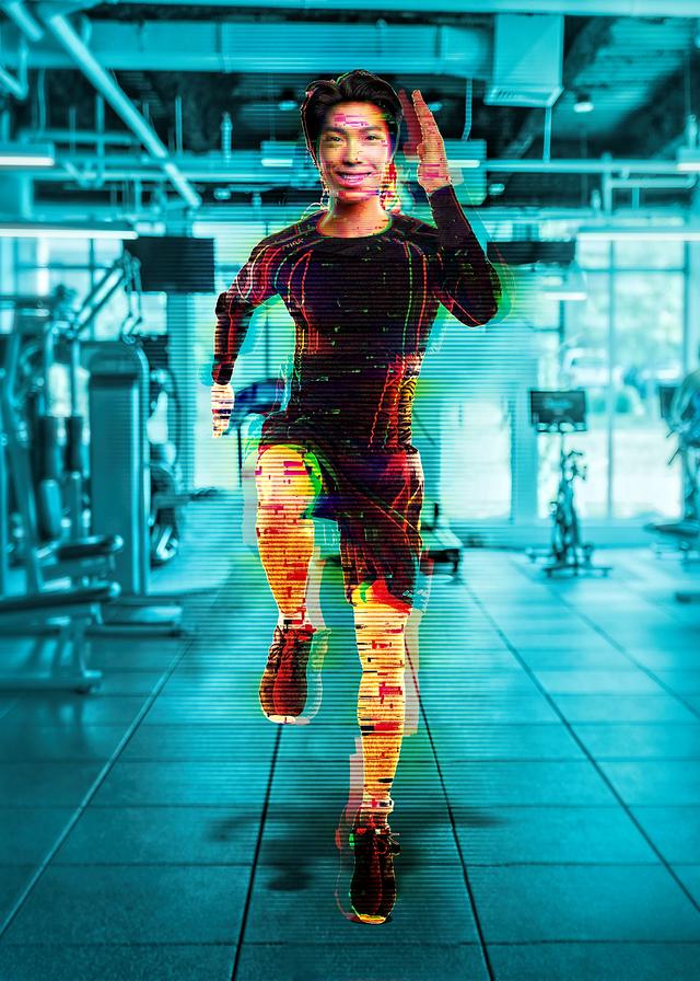 digitized man exercising