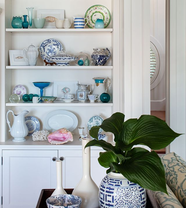 shelves with china
