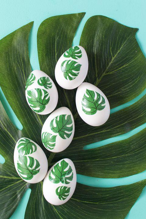 Monstera Leaf Easter Eggs
