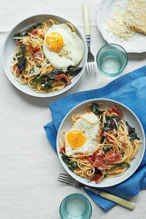 spaghetti with bacon eggs swiss chard