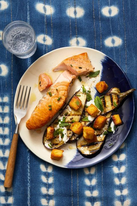 eggplant recipes - salmon with grilled eggplant and chickpea croutons