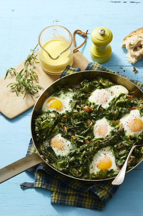 skillet eggs with mustard greens and hollandaise