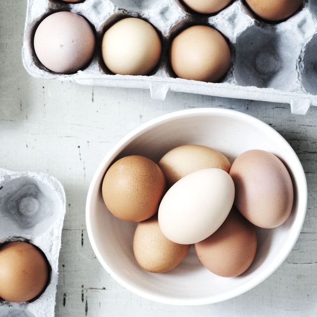 eggs in bowl and cartons