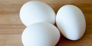 Eggs: realistic approach to food ingredients. Three white...