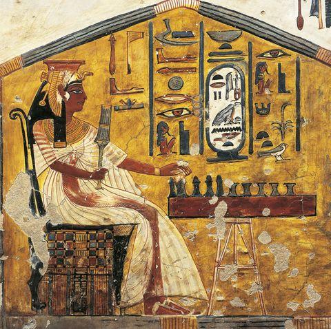 Egypt, Thebes, Luxor, Valley of Queens, Tomb of Nefertari, detail of antechamber frescoes, Queen Nefertari playing Senet
