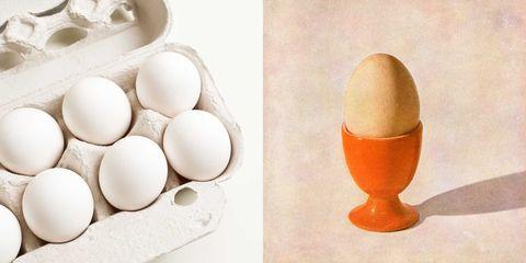 Eieren in een doosje en een ei in een eierdopje