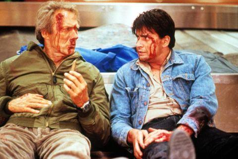 'el principiante' 1990, con clint eastwood y charlie sheen