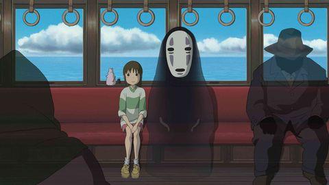 el viaje de chihiro, viaje en tren