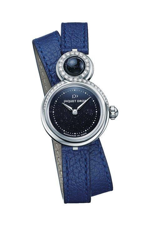 Analog watch, Watch, Watch accessory, Fashion accessory, Strap, Jewellery, Electric blue, Material property, Silver, Hardware accessory,