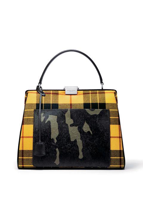 Handbag, Bag, Yellow, Fashion accessory, Tote bag, Shoulder bag, Pattern, Leather, Design, Luggage and bags,
