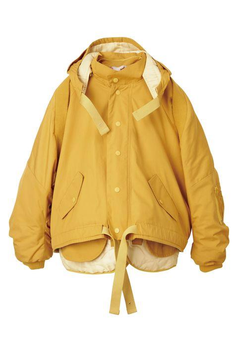 Clothing, Outerwear, Jacket, Yellow, Sleeve, Hood, Beige, Coat, Top, Raincoat,
