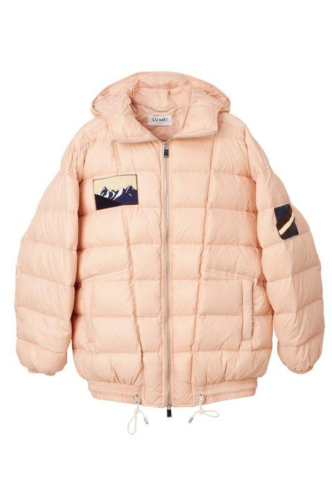Jacket, Clothing, Outerwear, Pink, Sleeve, Beige, Hood, Puffer, Peach, Zipper,