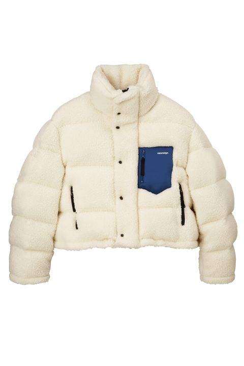 Clothing, White, Jacket, Outerwear, Beige, Sleeve, Sweater, Collar, Top,