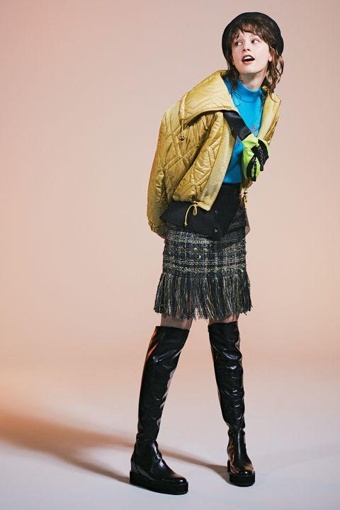 Blue, Green, Clothing, Fashion, Standing, Yellow, Skin, Leg, Knee, Outerwear,