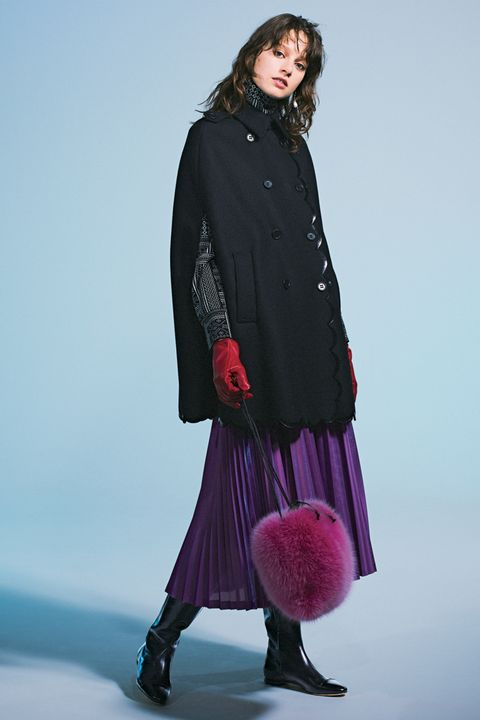 Clothing, Outerwear, Pink, Fashion, Fur, Coat, Magenta, Footwear, Overcoat, Tights,