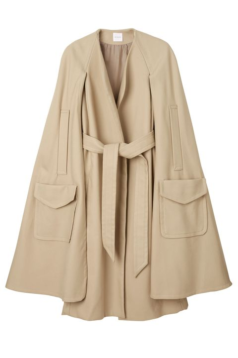Clothing, Outerwear, Sleeve, Coat, Beige, Cape, Costume, Jacket, Robe, Collar,