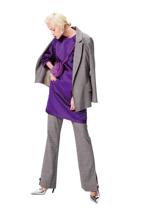 Clothing, Purple, Violet, Outerwear, Standing, Fashion, Leggings, Coat, Costume, Jacket,