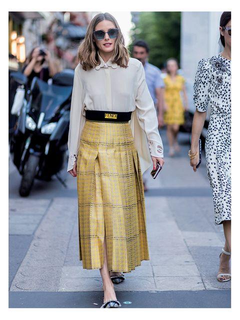 Clothing, Fashion, Street fashion, White, Fashion model, Yellow, Dress, Pencil skirt, Crop top, Footwear,