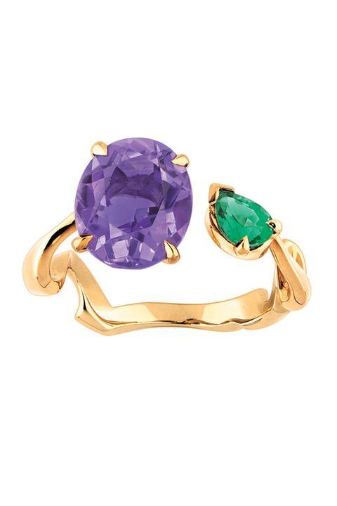 Jewellery, Fashion accessory, Amethyst, Gemstone, Turquoise, Purple, Ring, Emerald, Yellow, Aqua,